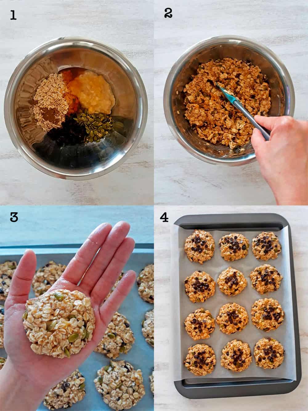 procedimiento paso a paso para preparar galletas de banana, avena y semillas