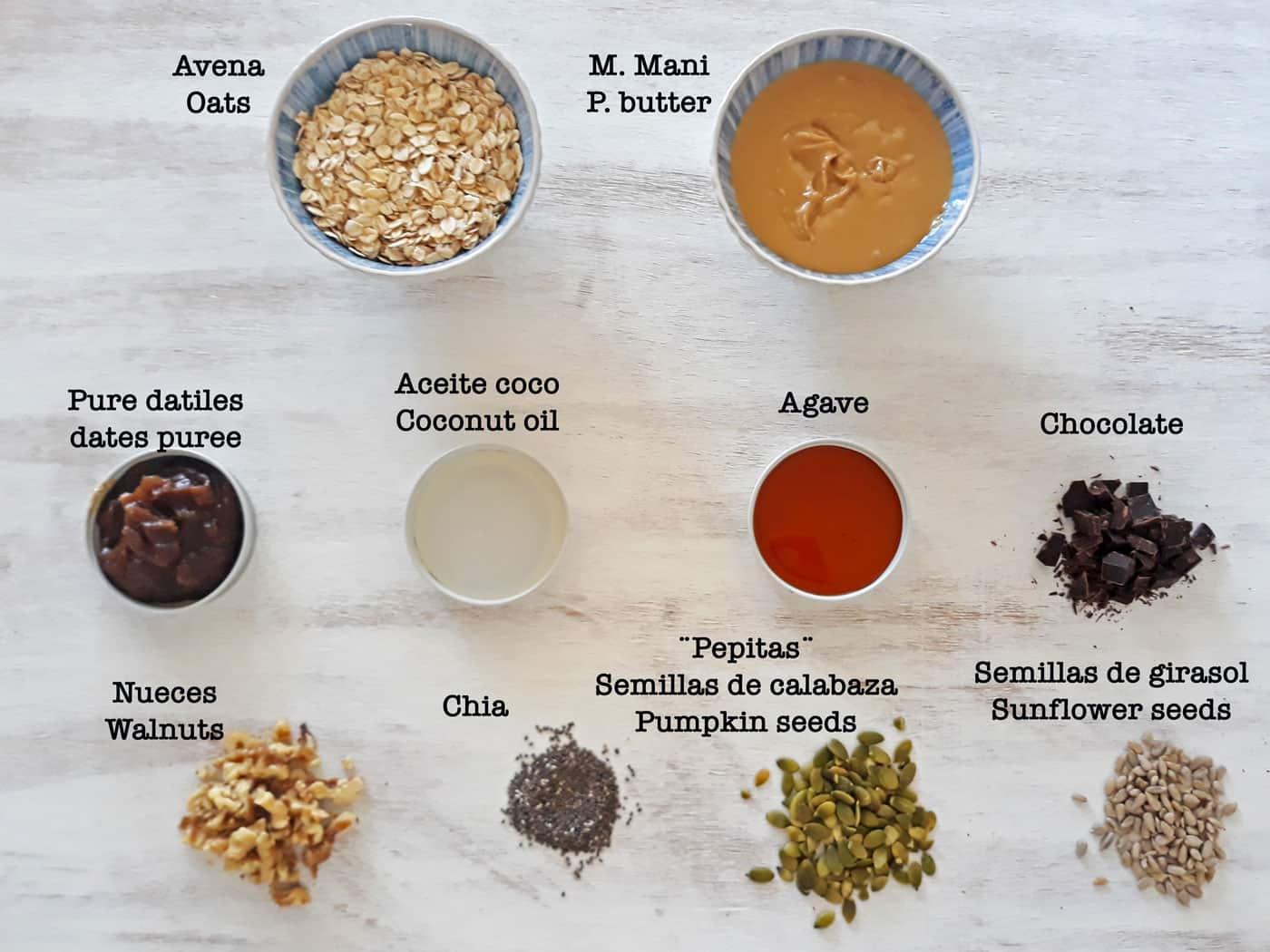 ingredientes para preparar barras de cereal sin azúcar