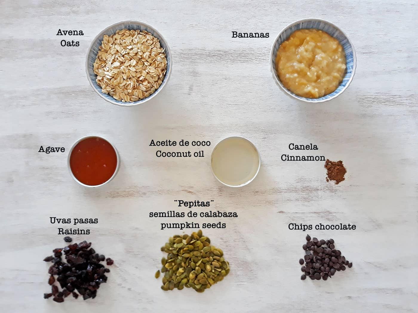 ingredientes para preparar galletas de avena y semillas