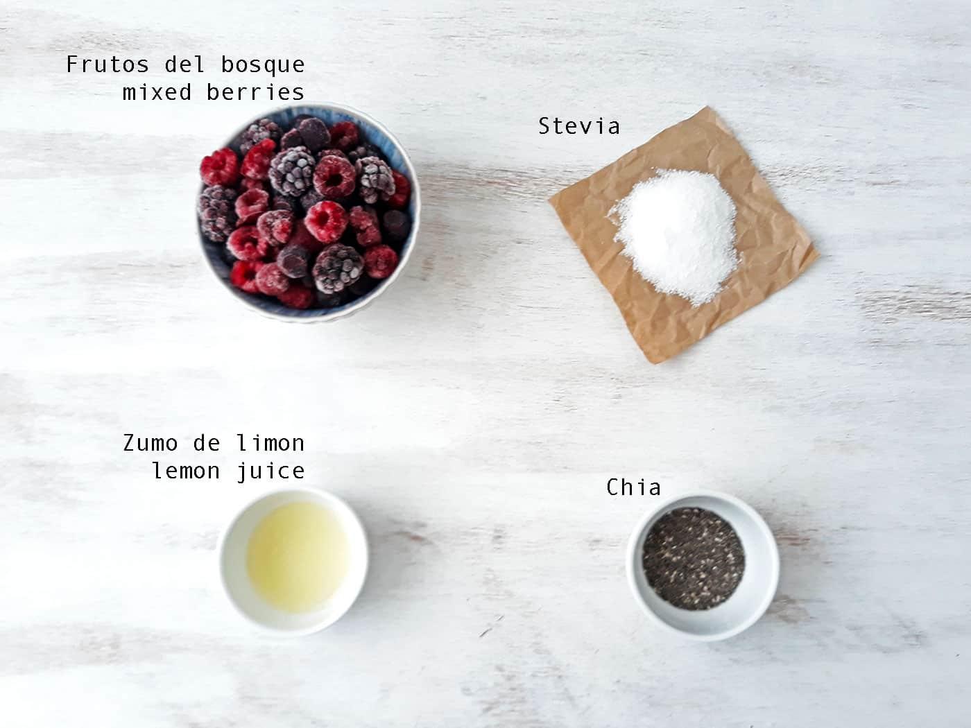 ingredientes para preparar mermelada de frutos rojos sin azúcar