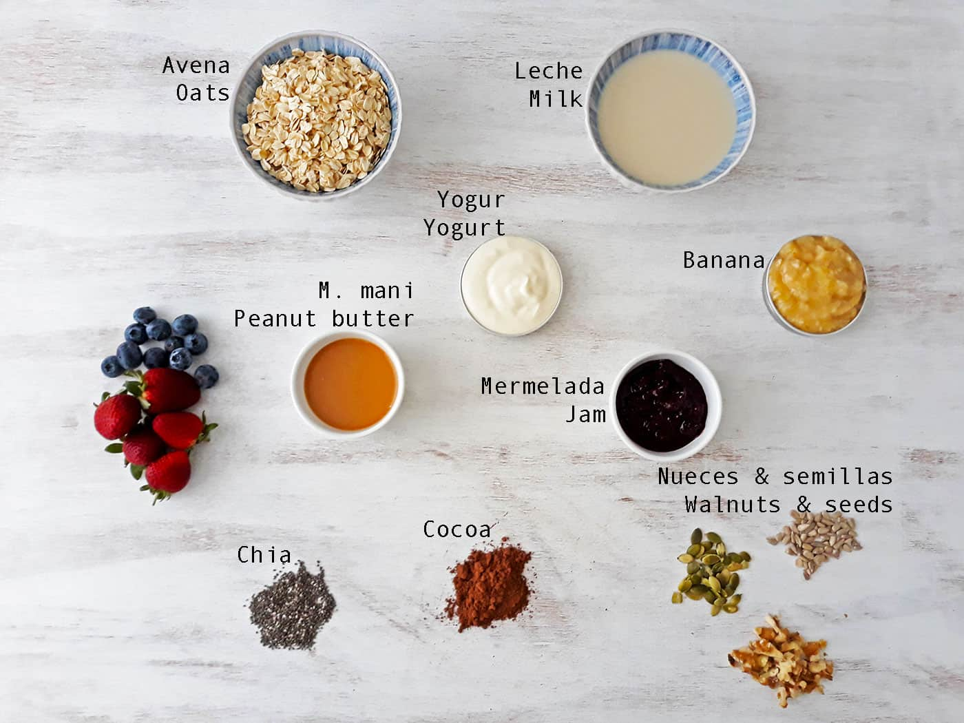 ingredientes para preparar Overnight Oats