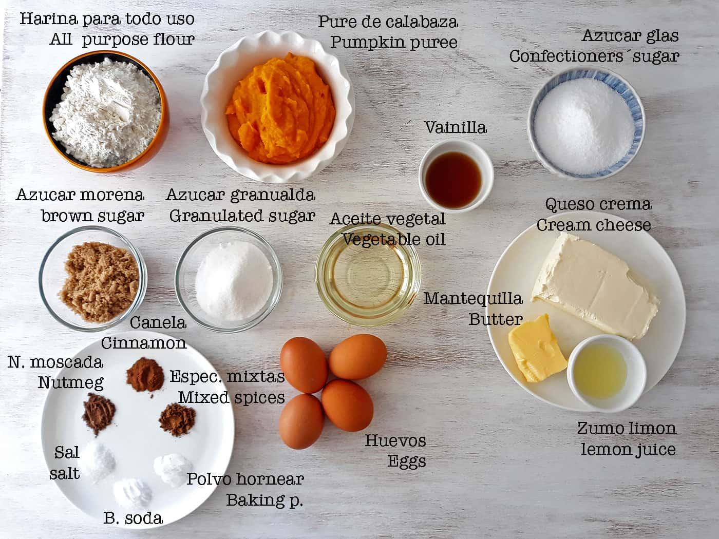 ingredientes para torta de calabaza y glaseado de queso crema