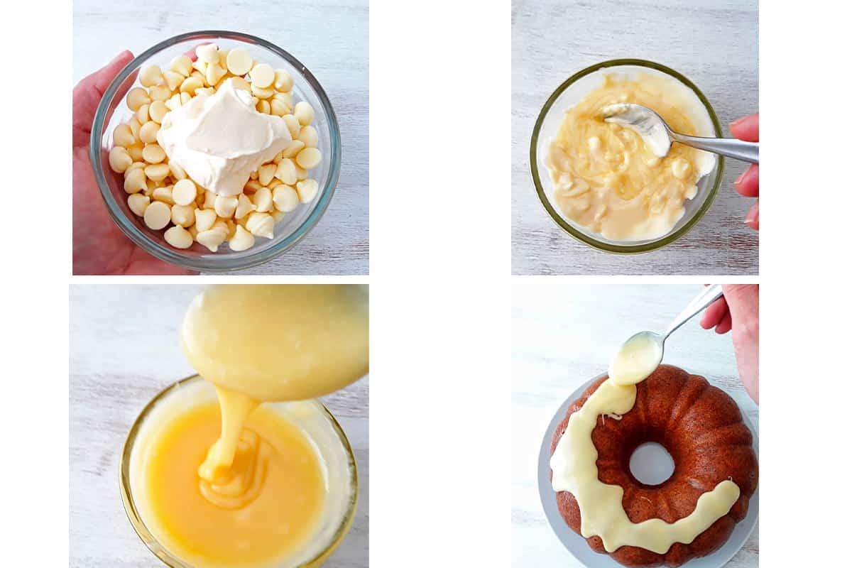 salsa de chocolate blanco para torta de naranja