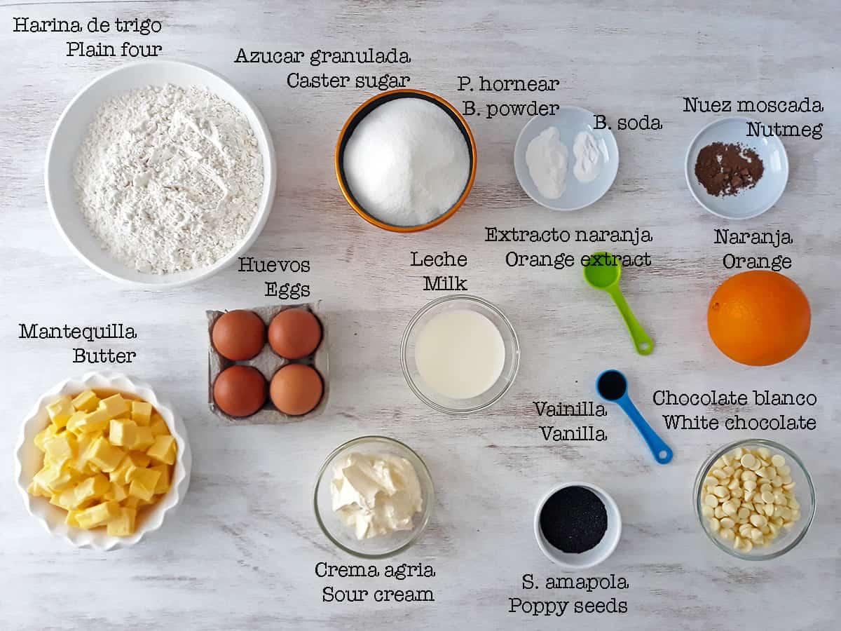 ingredientes para preparar torta de naranja y semillas de amapola