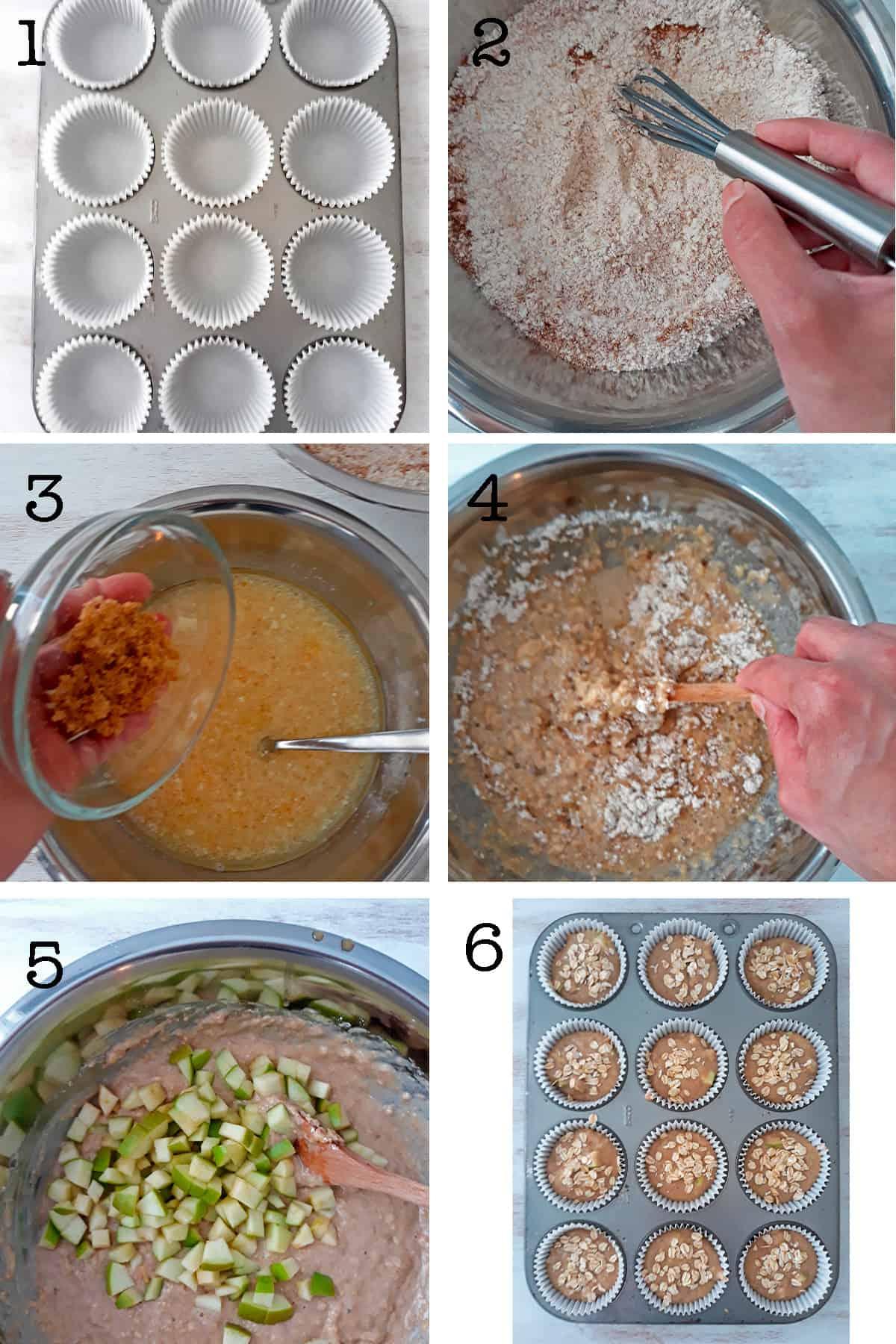 como preparar muffins de manzana paso a paso