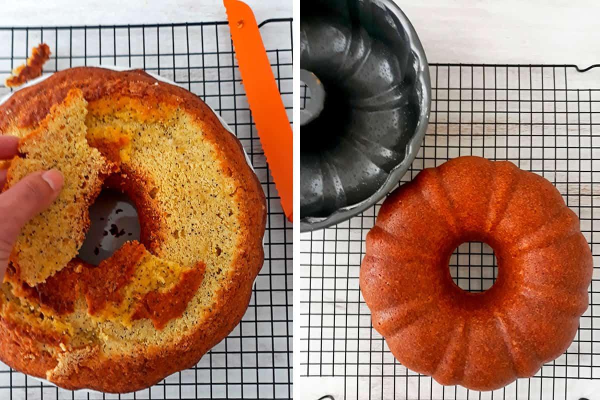 nivelando torta de naranja sobre una rejilla