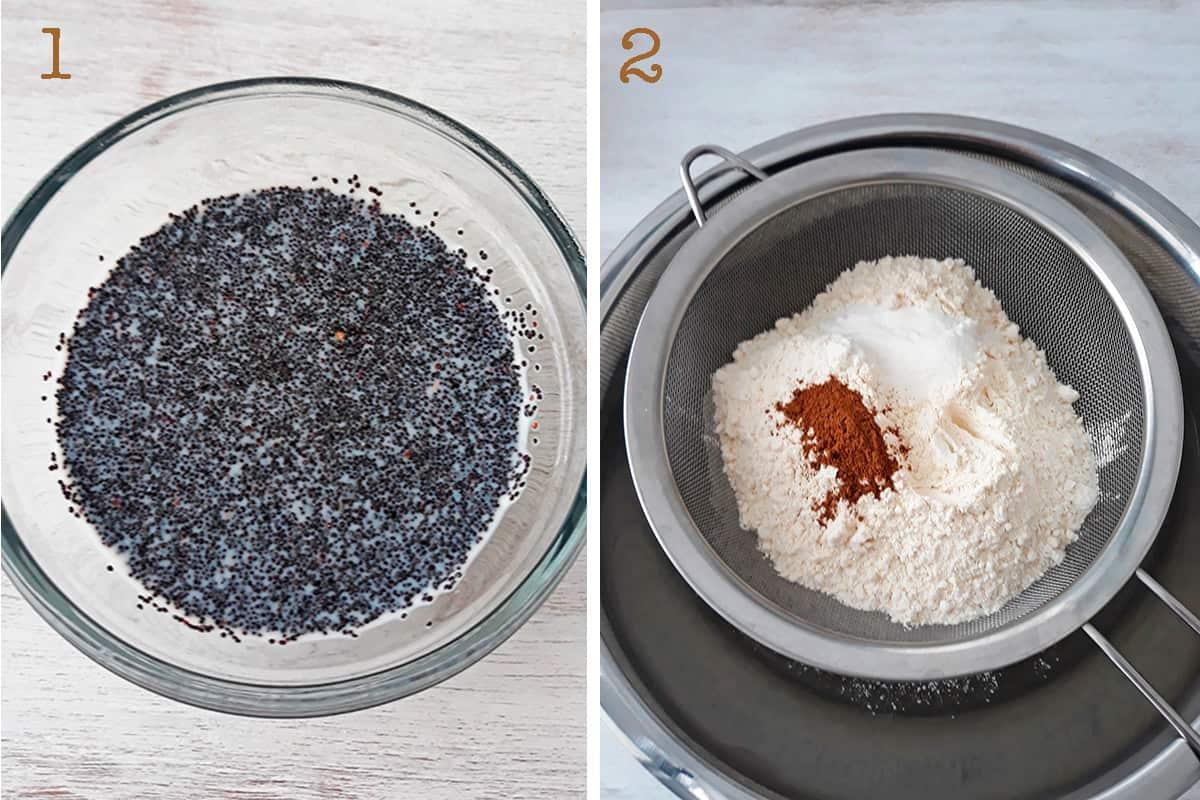 semillas de amapola y harina