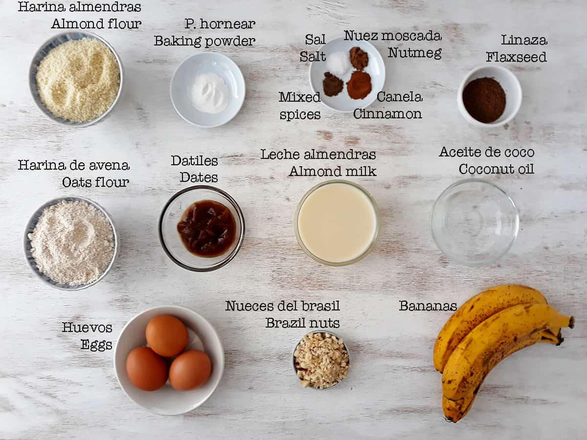 Ingredientes para preparar pan de banana