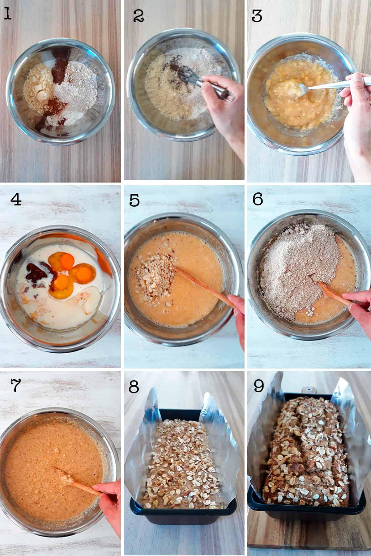 preparación de banana bread paso a paso.
