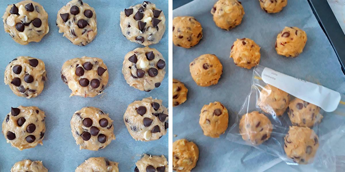 bolas de masa de galletas frias listas para congelar