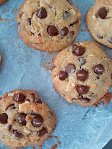 galletas de chocolate recién salidas del horno