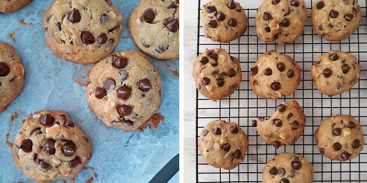 galletas con chispas de chocolate saliendo del horno