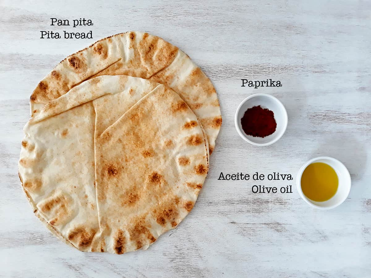 ingredientes para preparar chips de pita