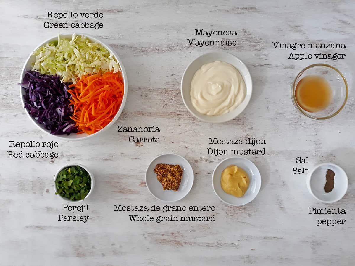 ingredientes para preparar enlada coleslaw