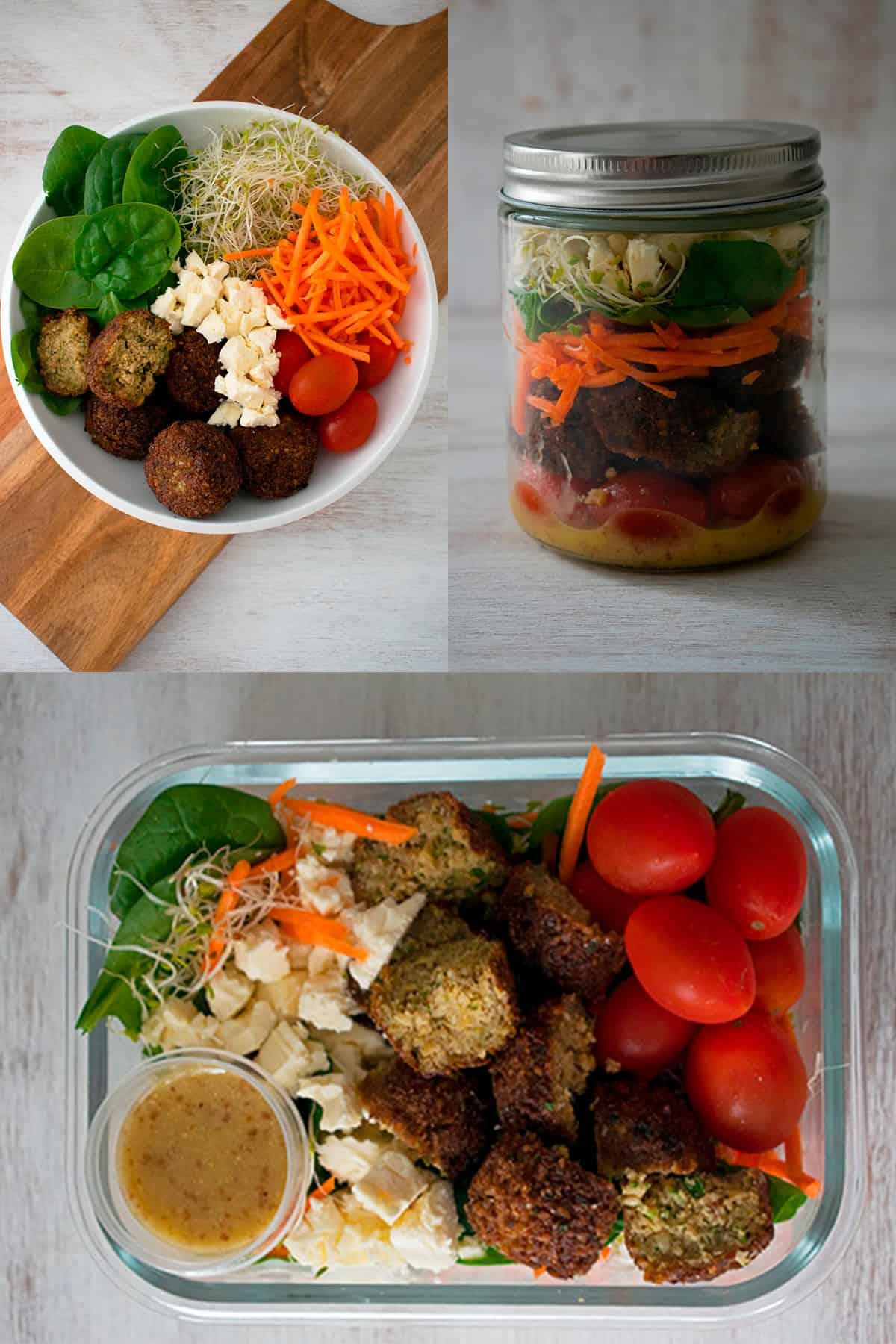 ensalada de falafels servida de 3 maneras