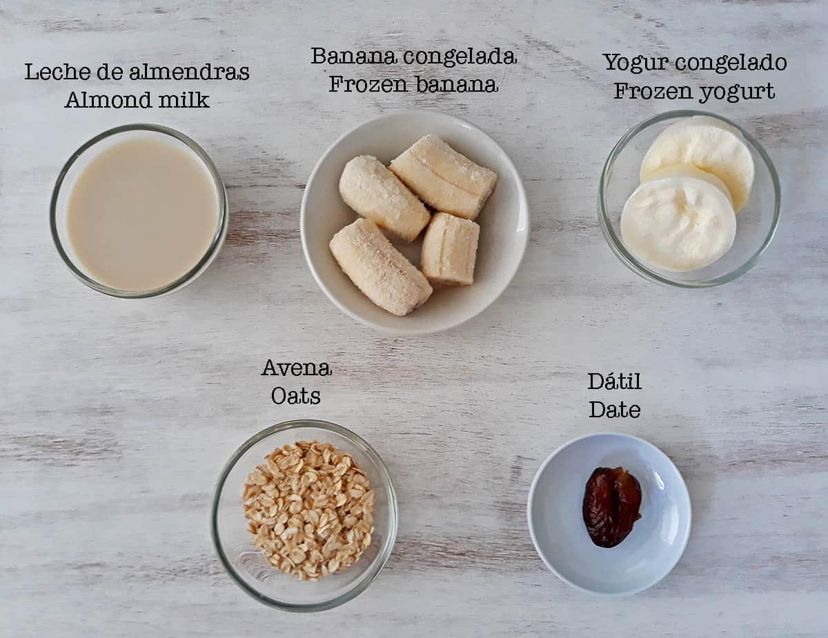 ingredientes para preparar smoothie de banana