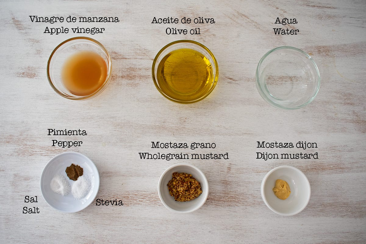 ingredientes para preparar vinagreta de mostaza
