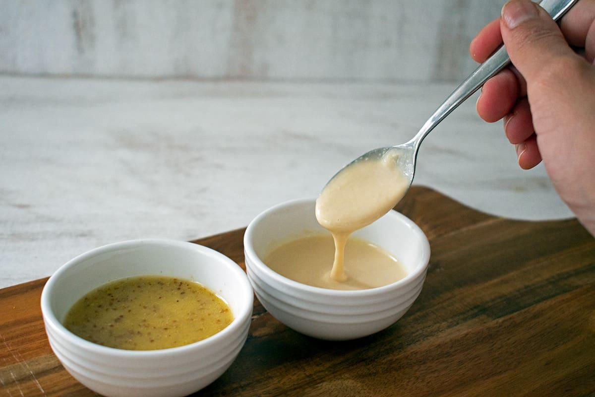 vinagreta y aderezo de hummus
