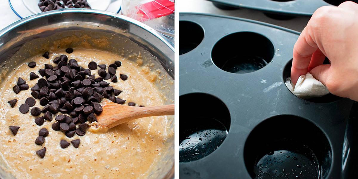 preparación de muffins con chispas de chocolate paso a paso