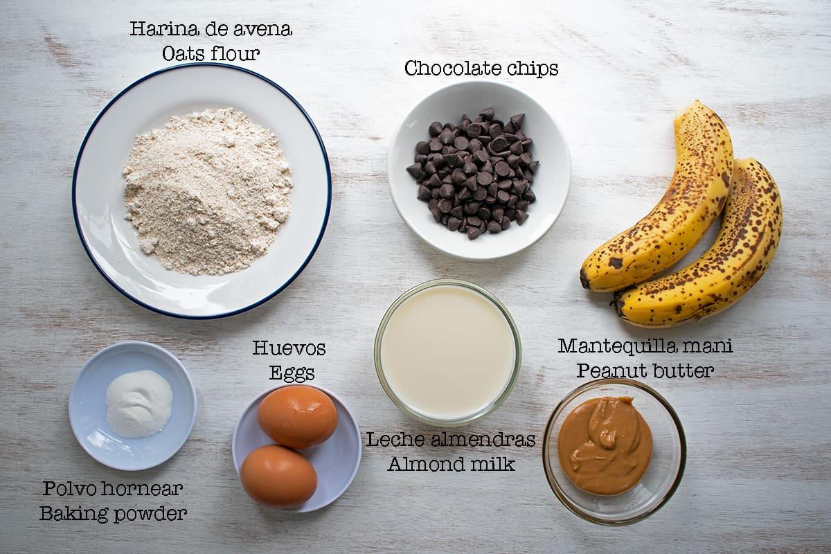ingredientes para preparar muffins de banana sin Azúcar