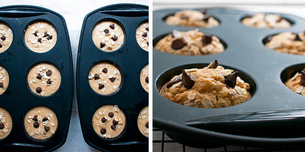 muffins de banana en moldes de silicona listos para hornear