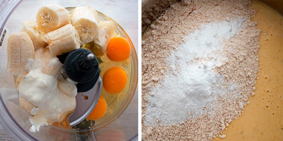 bananas, huevos y yogur en un procesador de alimentos, luego se mezcla con harina de avena. para preparar pan de banana y avena fit