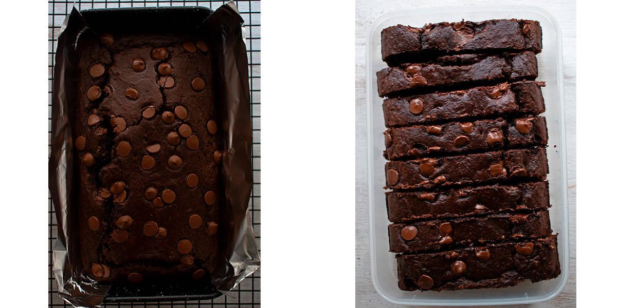pan de banana y chocolate saludable en porciones