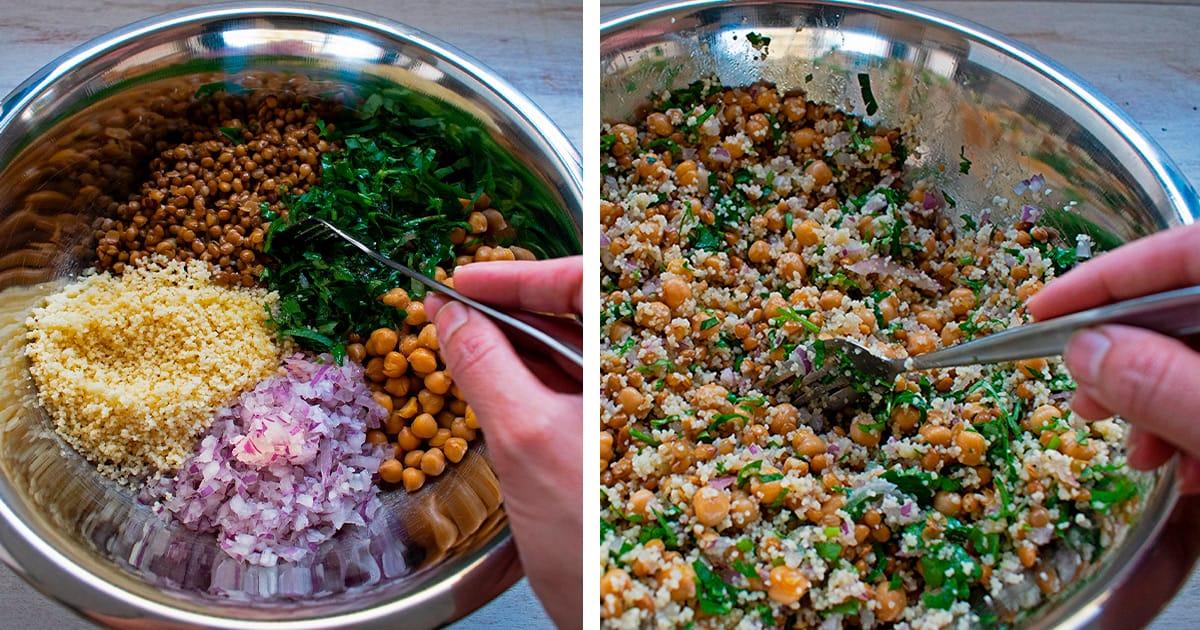 mezclar todos los ingredientes de la ensalada y sazonar al gusto con sal y pimienta