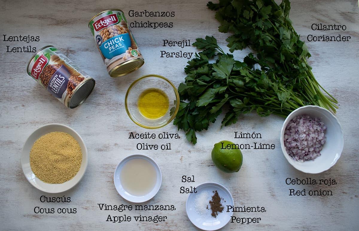 ingredientes para preparar ensalada de cuscús y garbanzos
