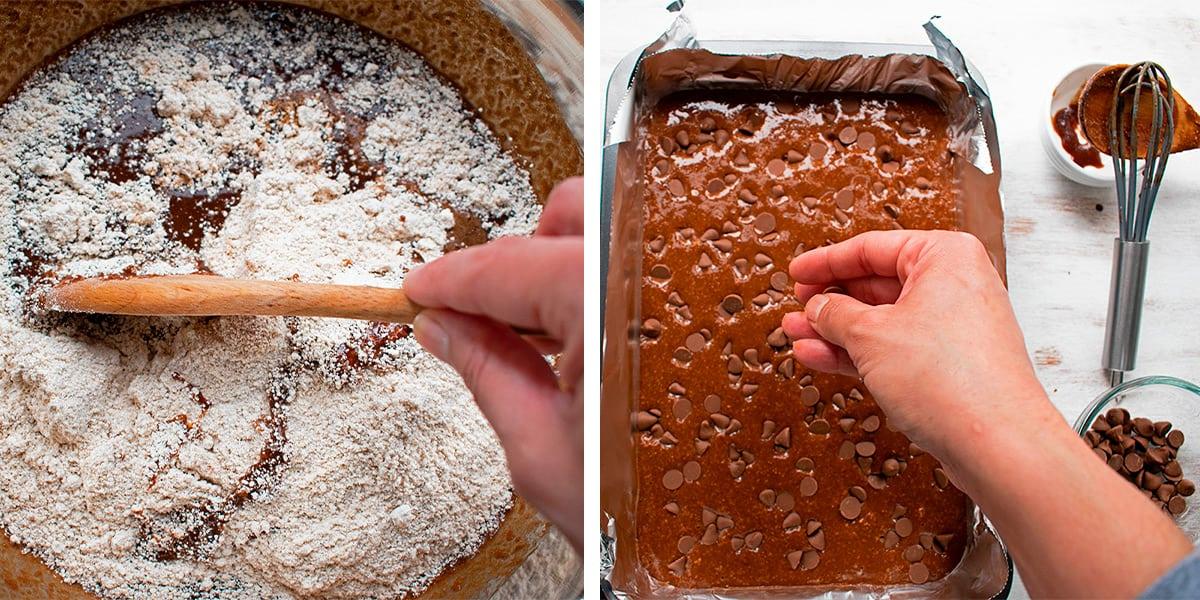 preparando receta de brownies de chocolate