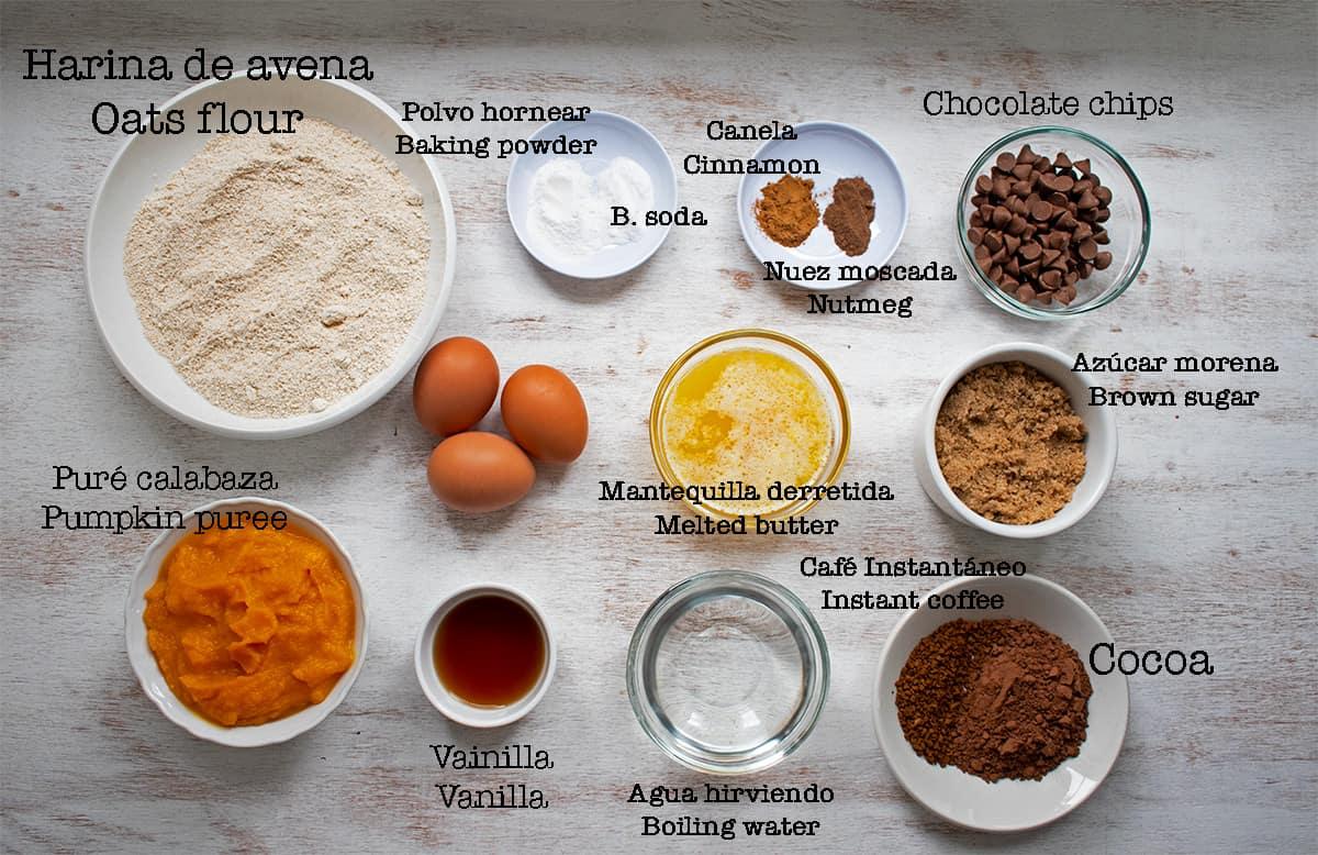 ingredientes para preparar brownies de chocolate y calabaza