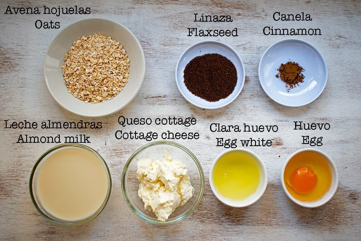 ingredientes para preparar pancakes de avena y queso cottage