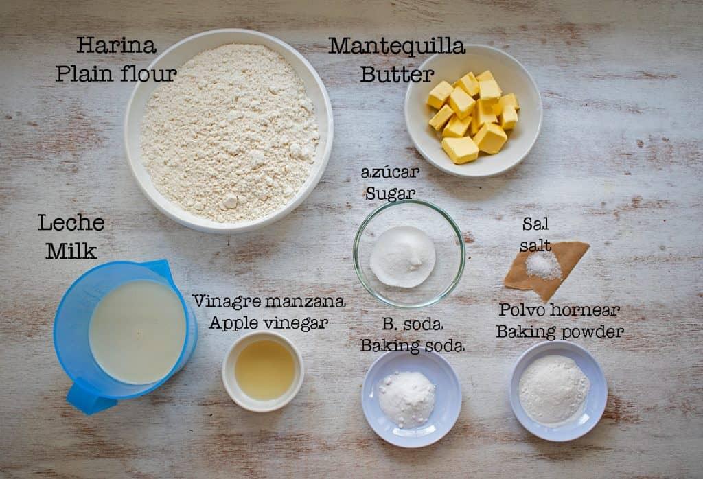 ingredientes para preparar scones clásicos
