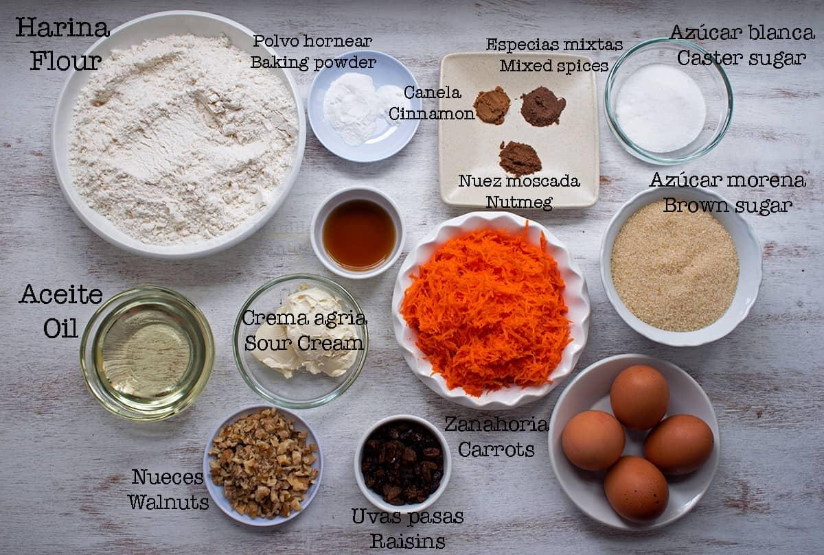 Ingredientes para preparar torta de zanahoria y nueces