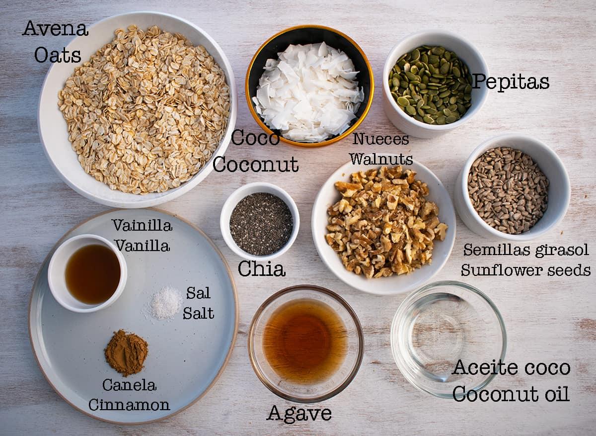 ingredientes para preparar granola sin azúcar