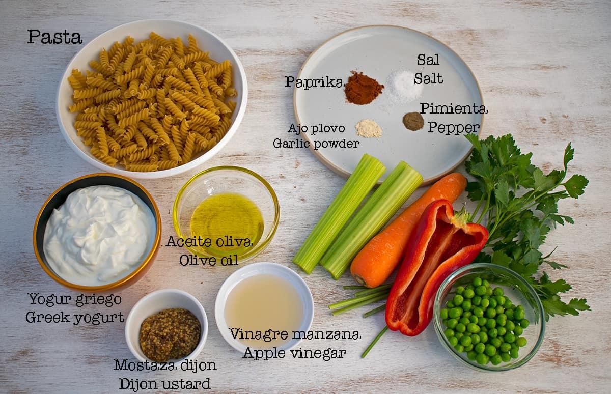 ingredientes para preparar ensalada de pasta