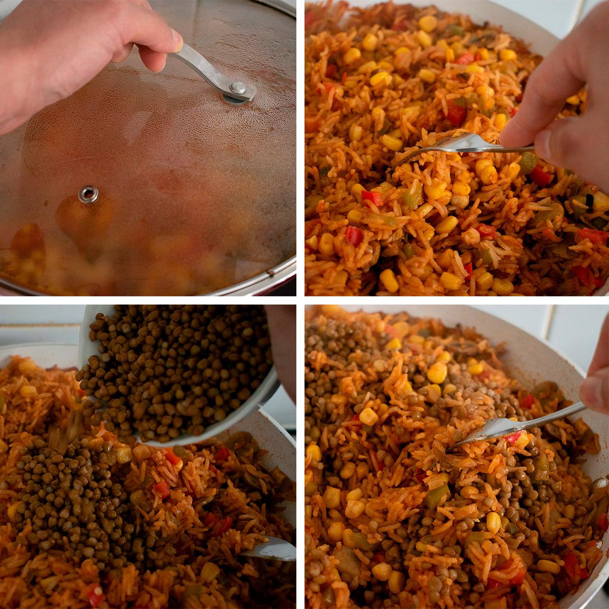 preparación de arroz con maíz y lentejas paso a paso
