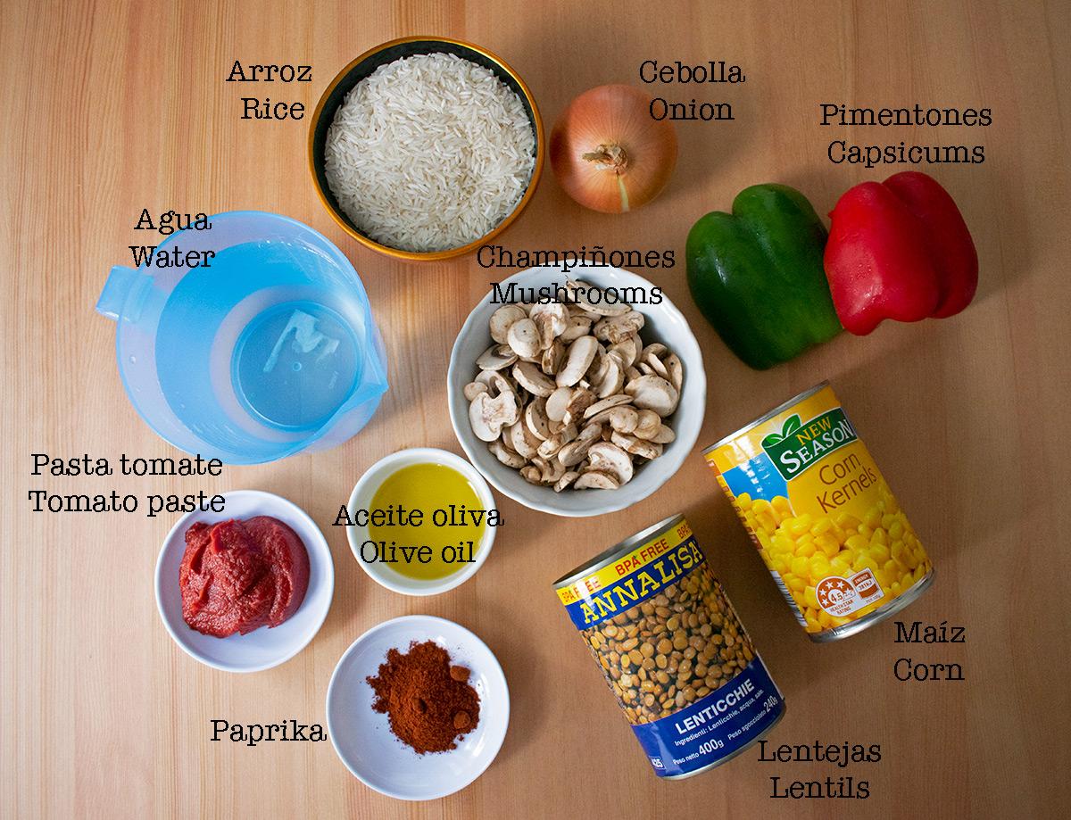 ingredientes para preparar arroz pilaf
