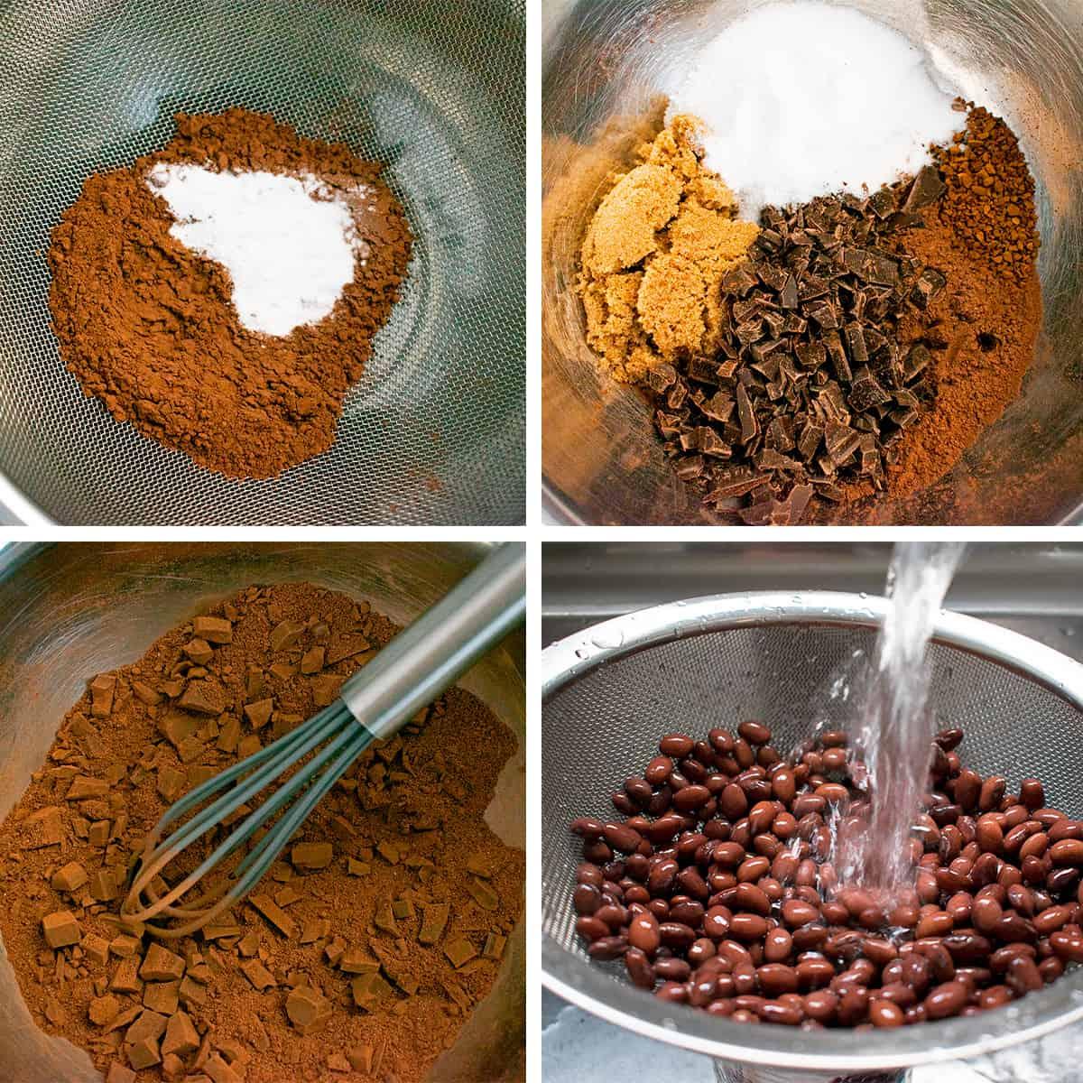 paso a paso para preparar una receta de brownies con frijol  o porotos negros