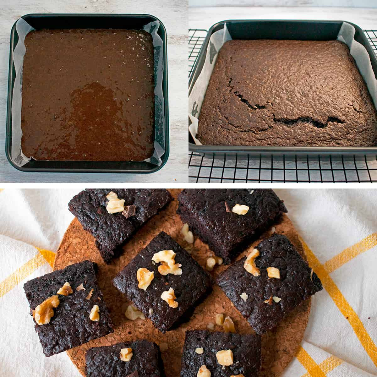 Mezcla de brownies en el molde lista para ir al horno. Molde con brownies acabados de salir del horno y finalmente brownies en porciones.