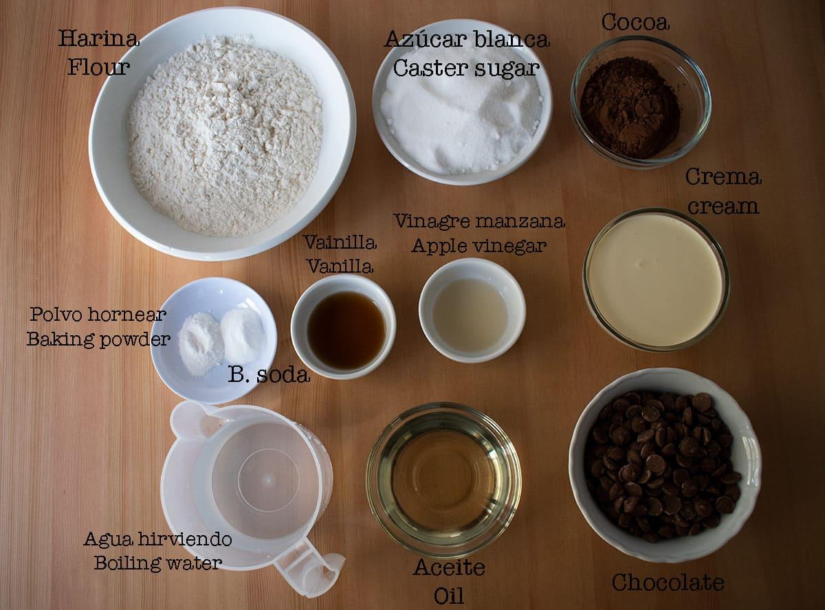 ingredientes para preparar depression cake o pastel de depresión