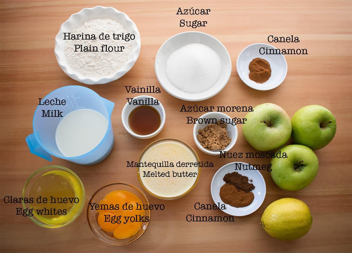 Ingredientes para preparar tarta de manzana casera
