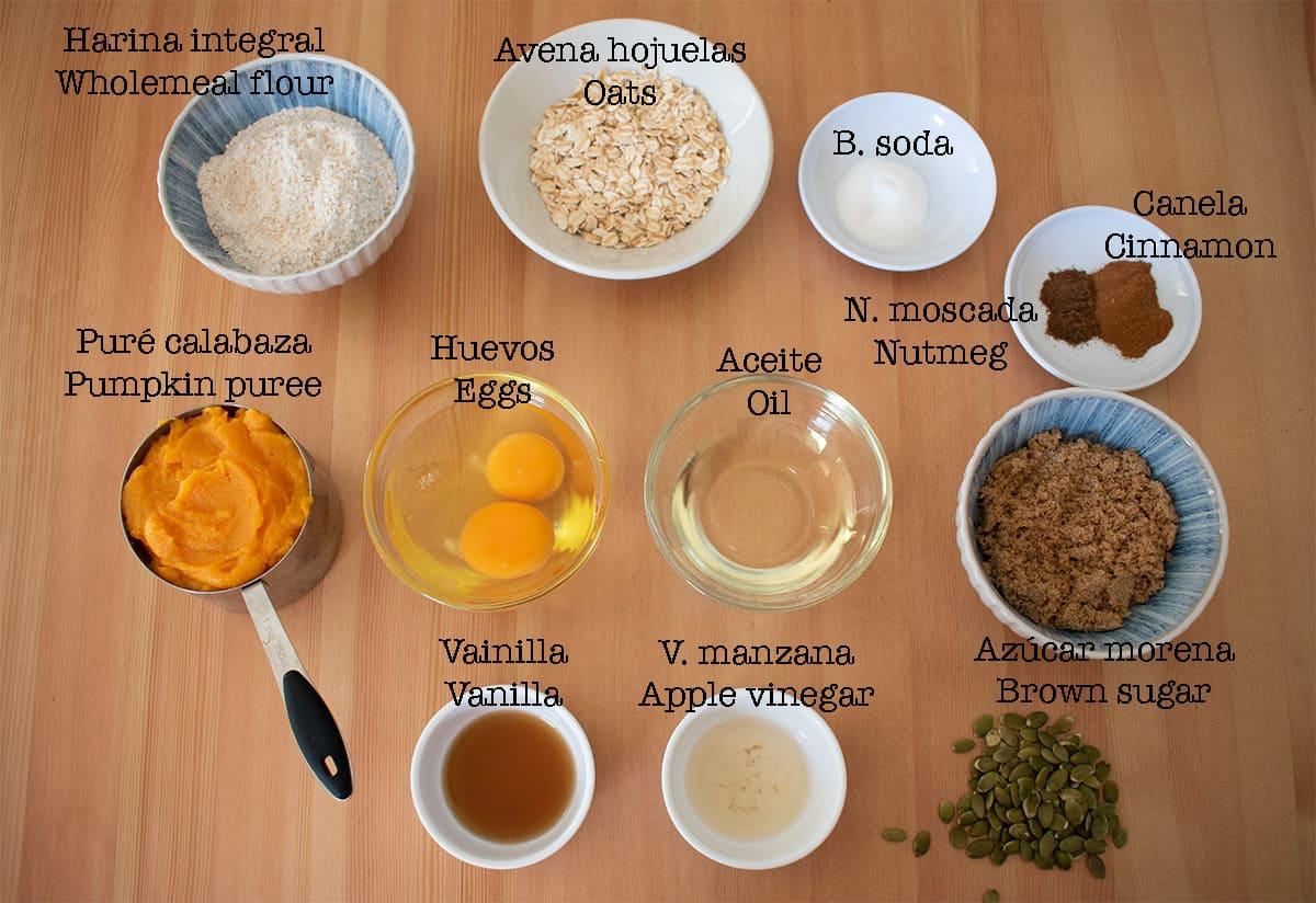 ingredientes para preparar muffins de calabaza y avena