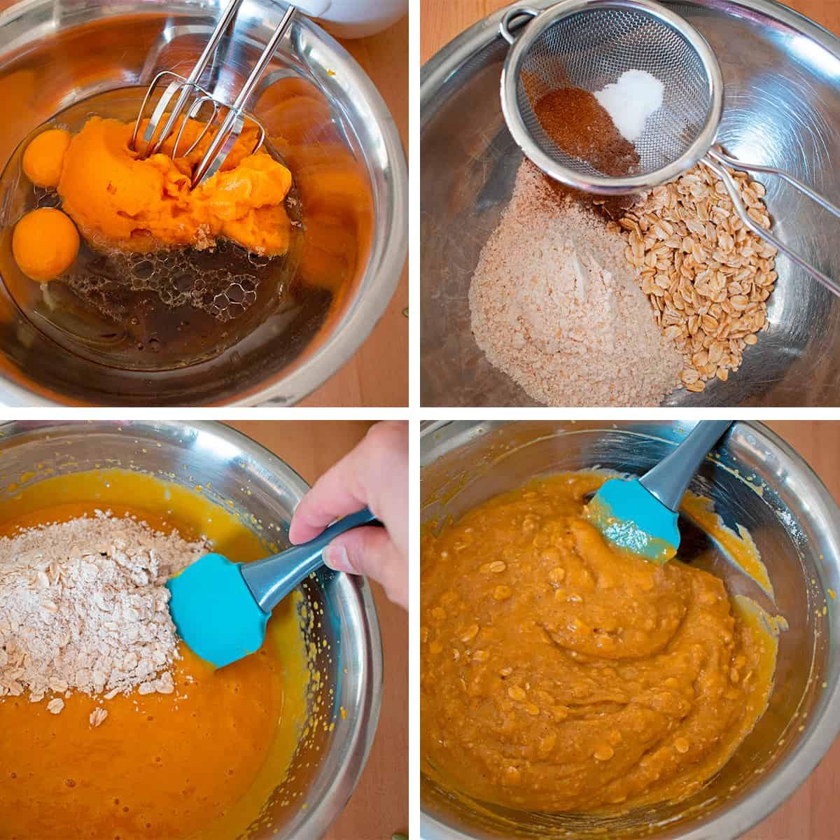 receta paso a paso para preparar muffins de calabaza y avena