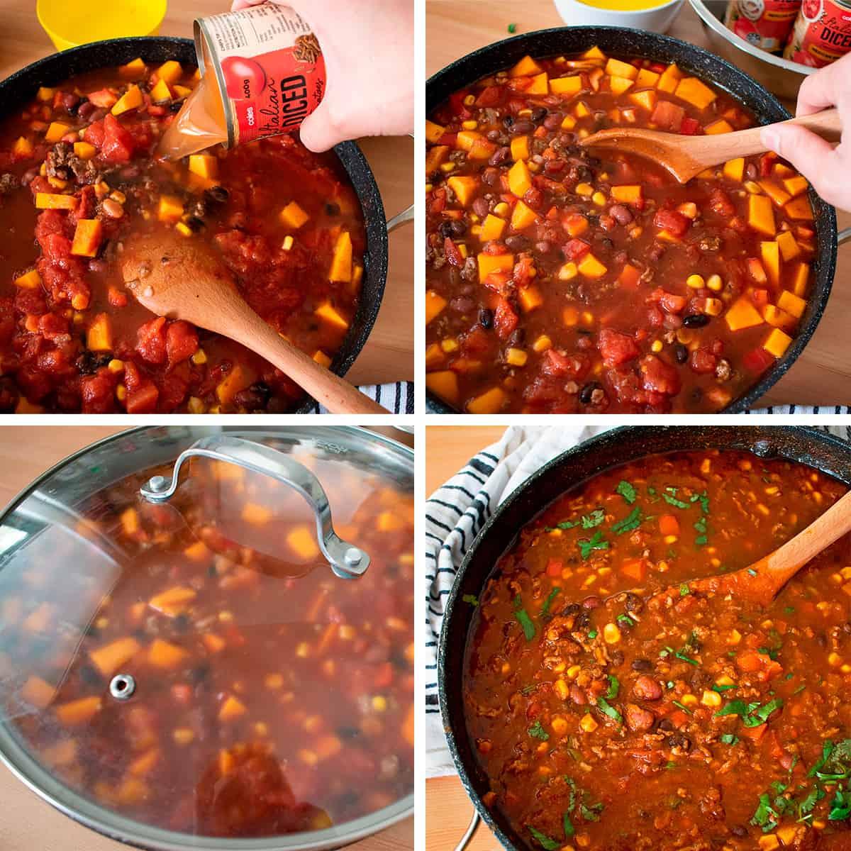 proceso paso a paso para preparar chili con carne y frijoles