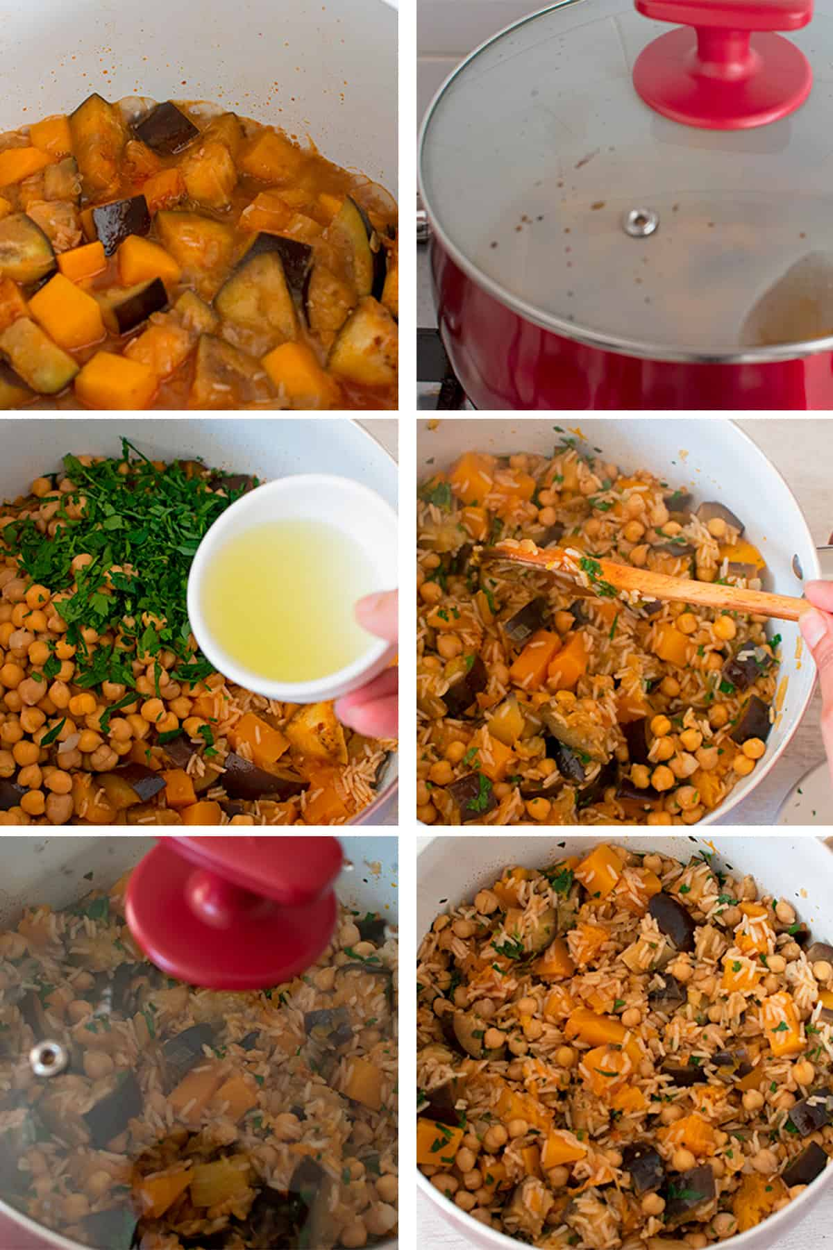 receta paso a paso para preparar un arroz estilo pilaf con berenjena, calabaza y garbanzos