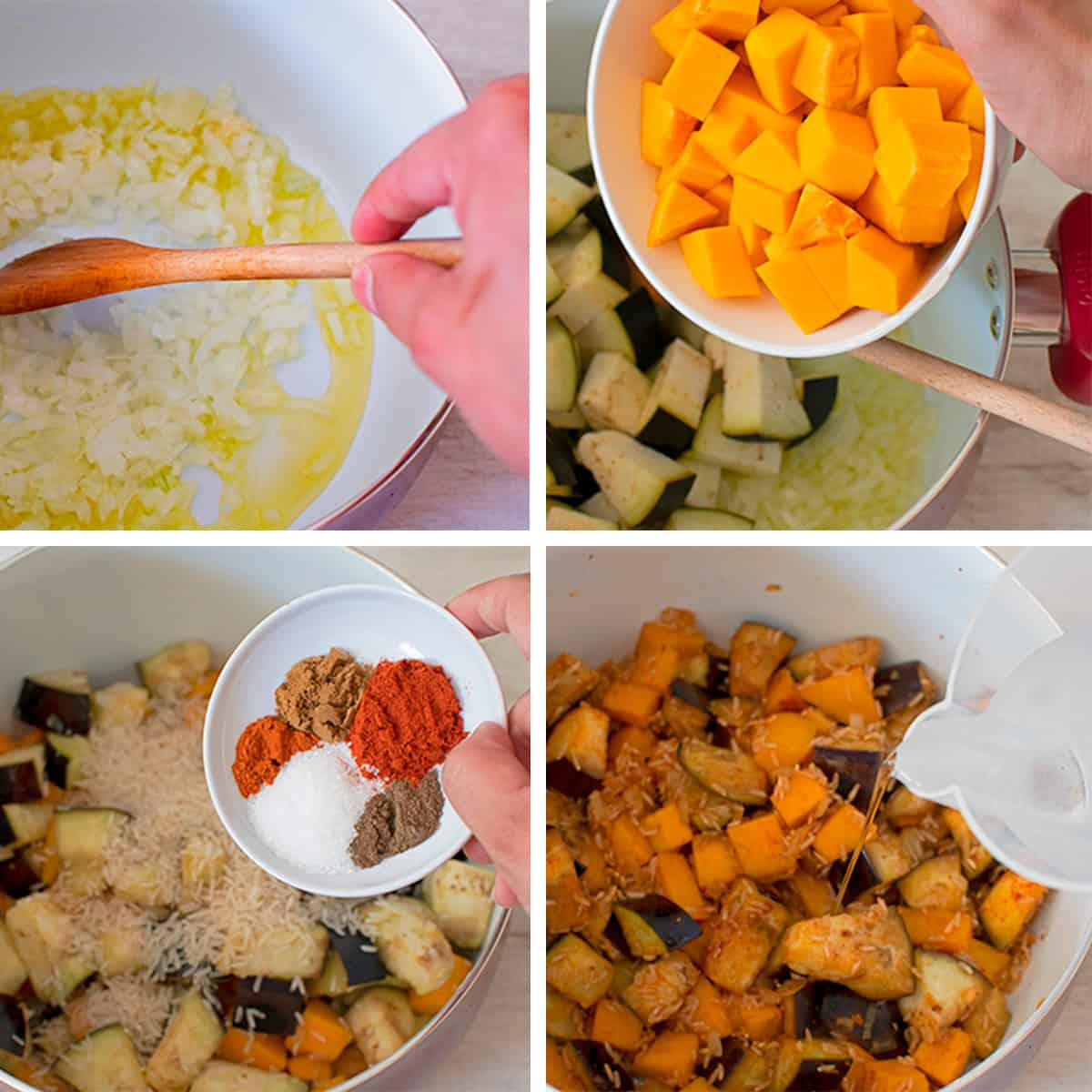 receta paso a paso para preparar un arroz con calabaza y berenjena