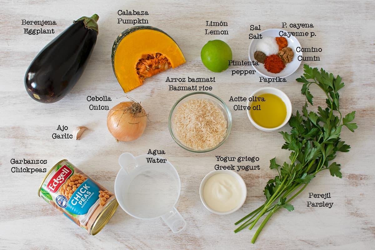ingredientes necesarios para preparar arroz con garbanzos y verduras