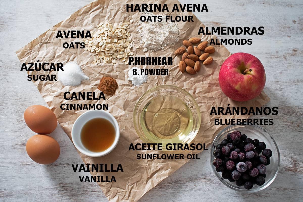 ingredientes para preparar barritas de avena y almendras en casa