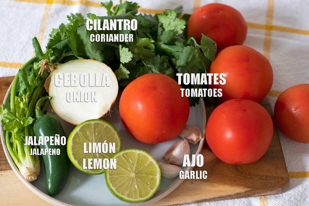 ingredientes para preparar salsa fresca estilo restaurante. tomates rojos, cebolla, limón, ajo, jalapeño.